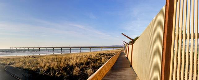 New Brighton seafront boardwalk promenade landscape design, Christchurch