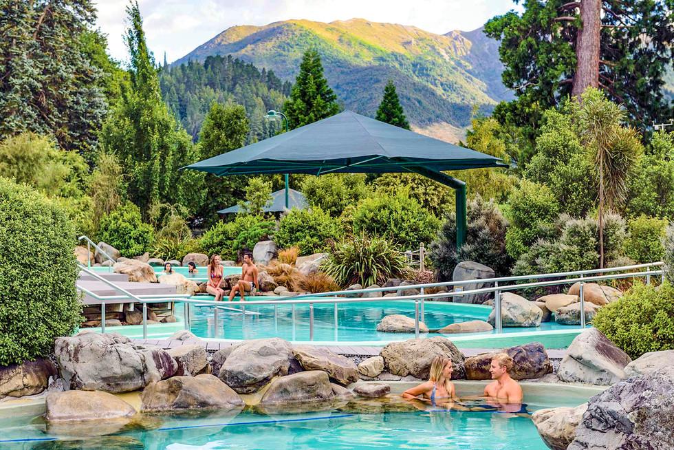 Hot pools design in alpine landscape at Hanmer Springs