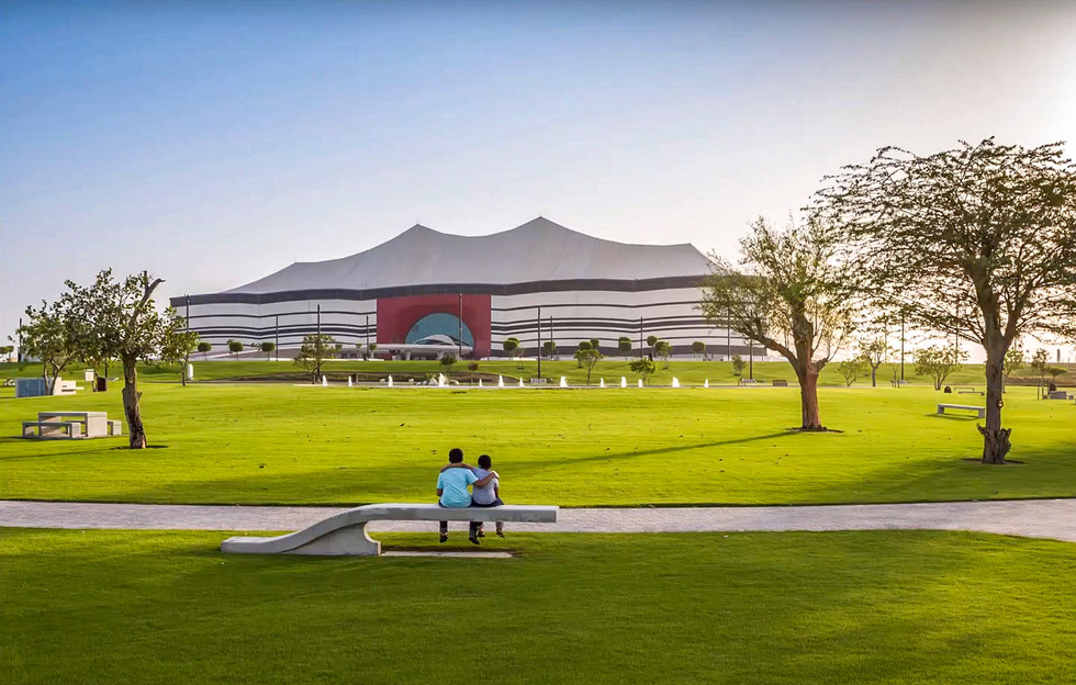 Al Bayt Stadium landscape design with trees, lawn, paving and seating