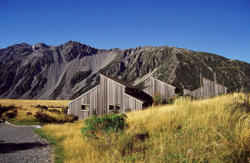 mt cook village chalets in alpine landscape