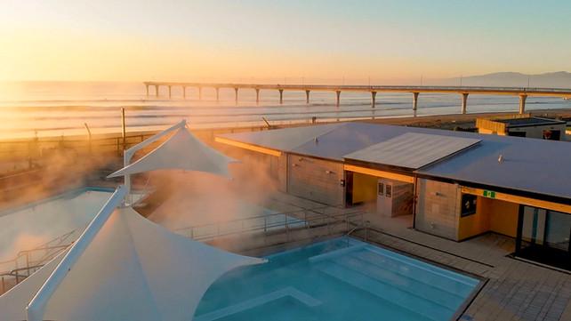 Sunrise over New Brighton's hot pools landcape architectural design