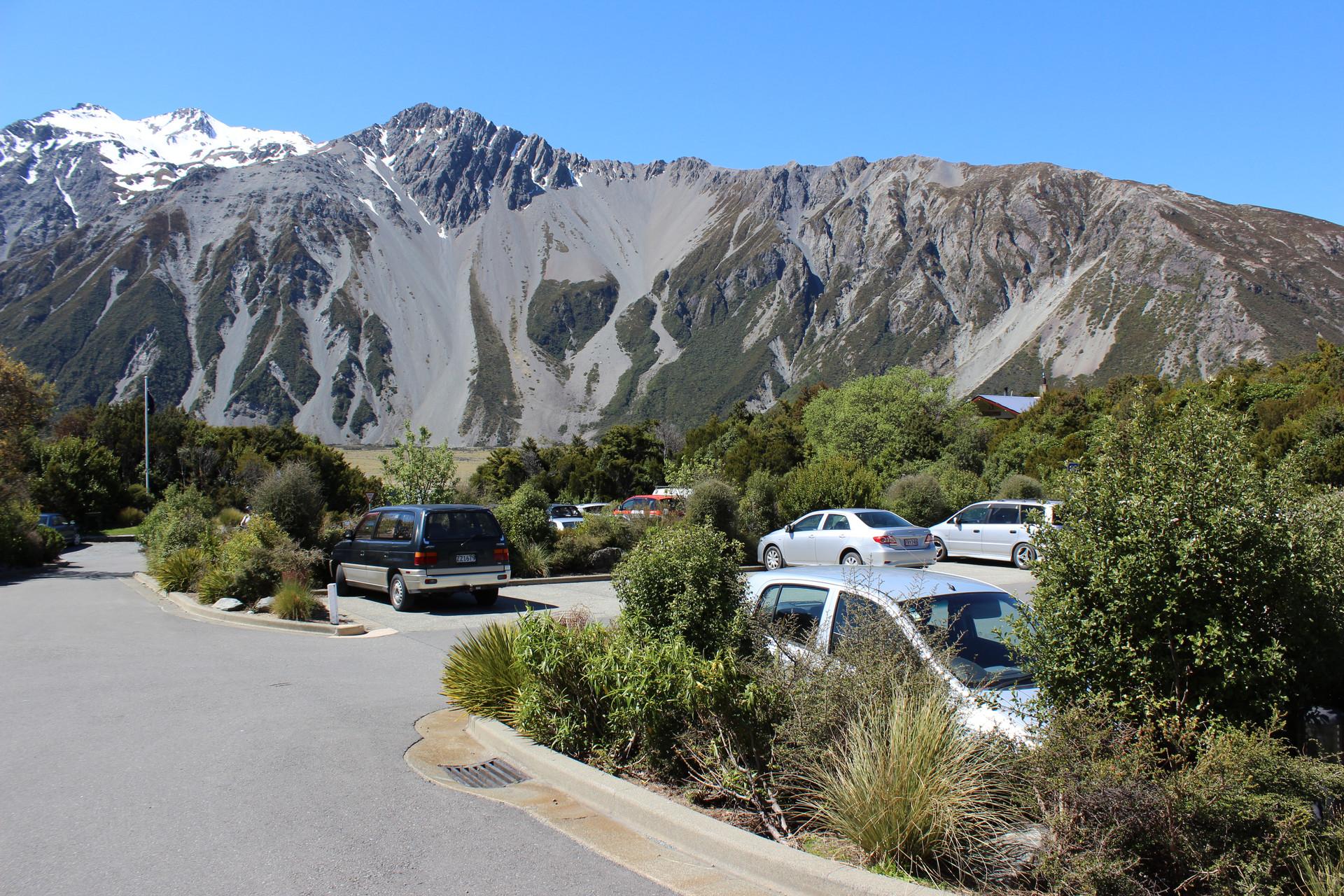 car parking integrated into landscape planting design at mt cook visitor centre