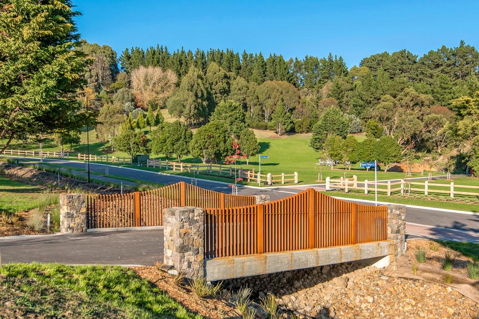 Design of feature bridge landscaped subd