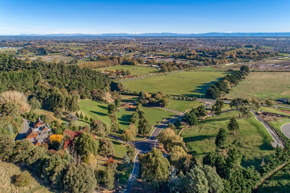 Aerial of landscape subdivision design c