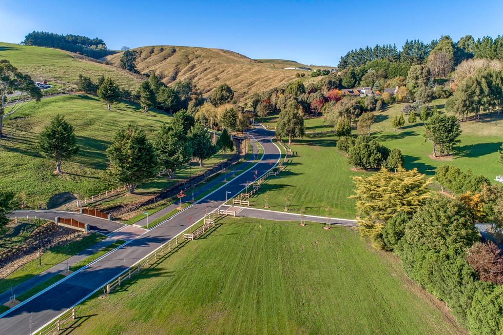 Aerial of rural subdivision landscape de