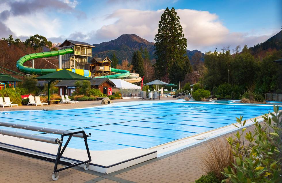 Sport pool landscape and water slide design at hanmer springs