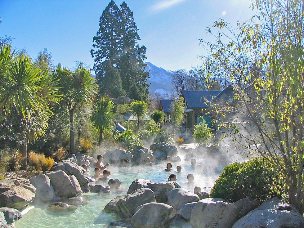 Natural hot pools landscape design at Hanmer Springs with native planting