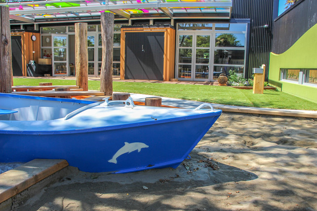Sand pit with boat