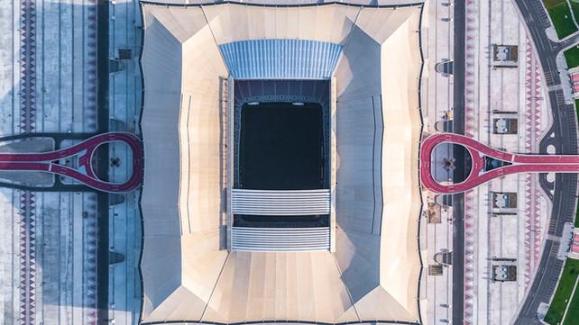 Al Bayt Stadium landscape design aerial view of cultural paving patterns