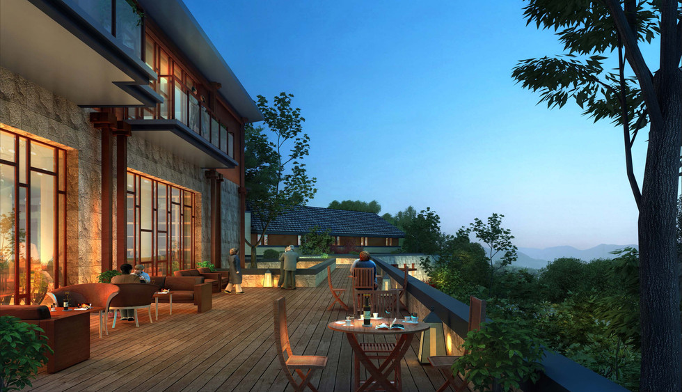 Landscape architectural visual of an outside deck at a chinese resortview
