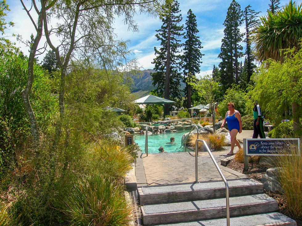 Steps at entrance to hot pools landscape design in hanmer springs