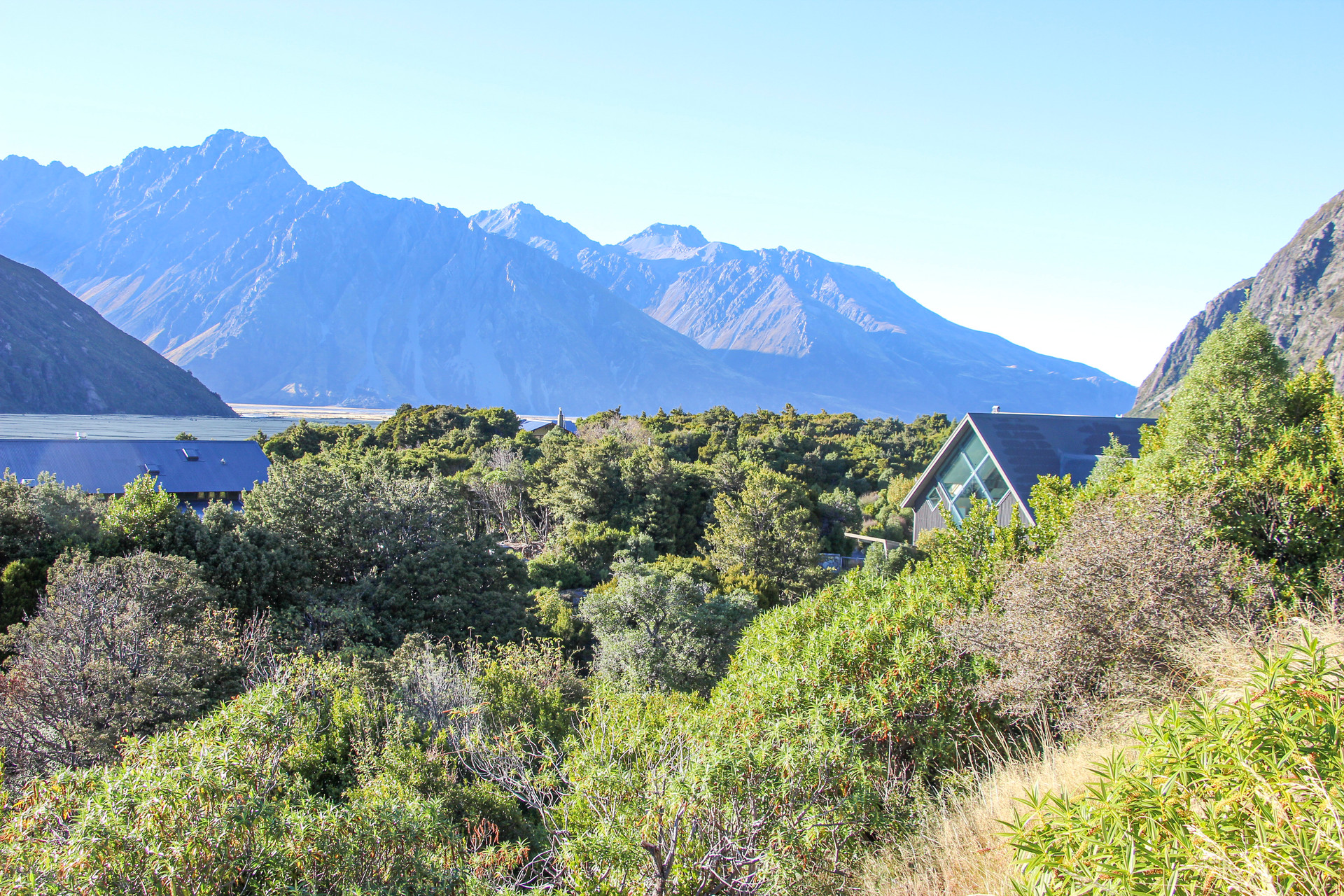 mt cook village building in surrounded by planted landscape and mountains