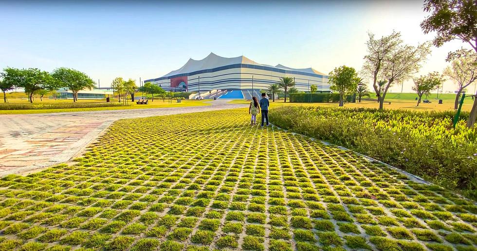 Al Bayt Stadium landscape design with hardscape and planting