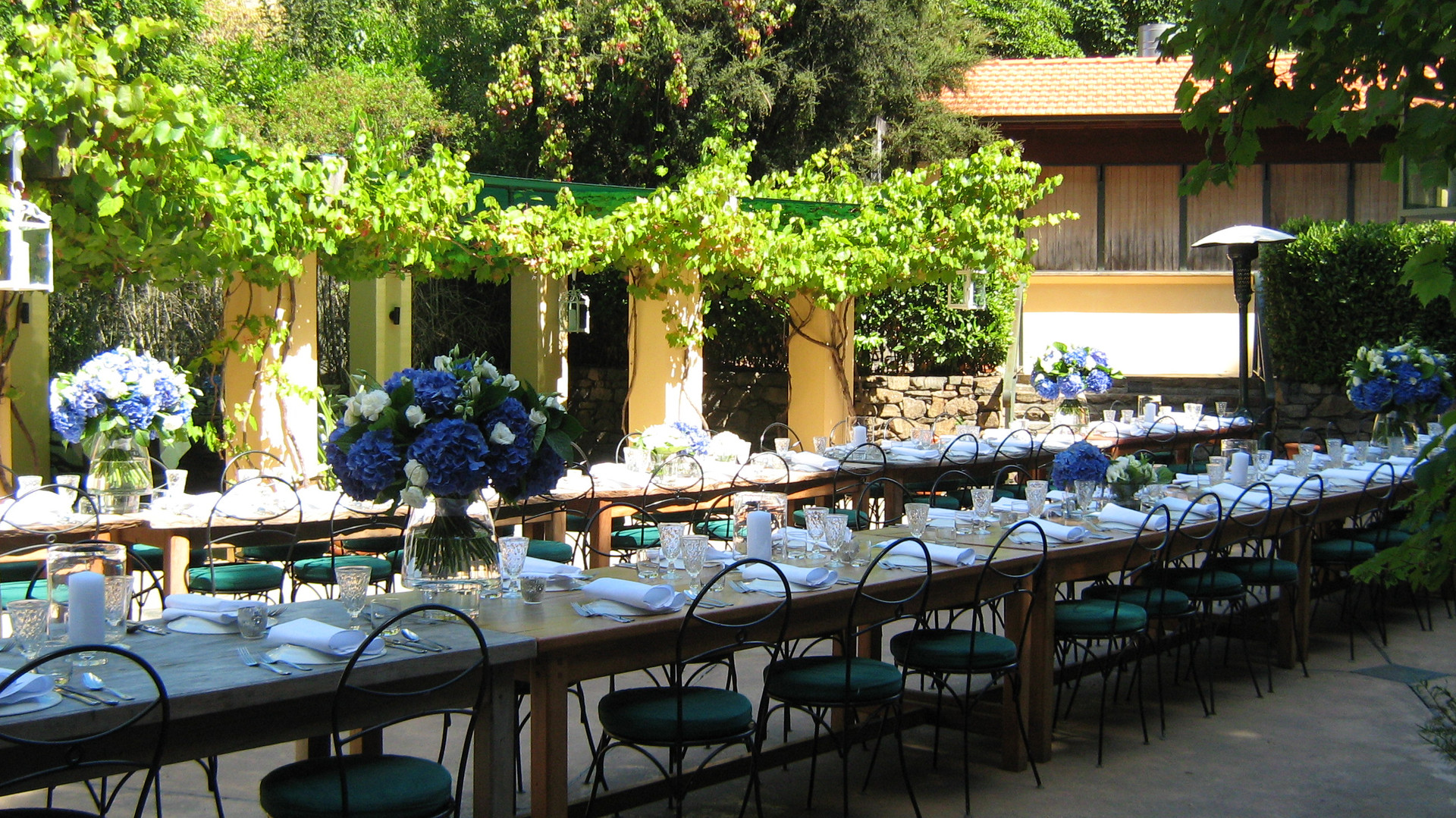 courtyard design with seating at french farm winery