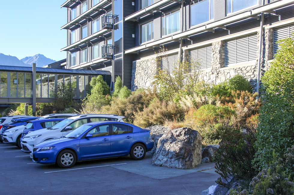 car parking integrated into landscape design at mt cook