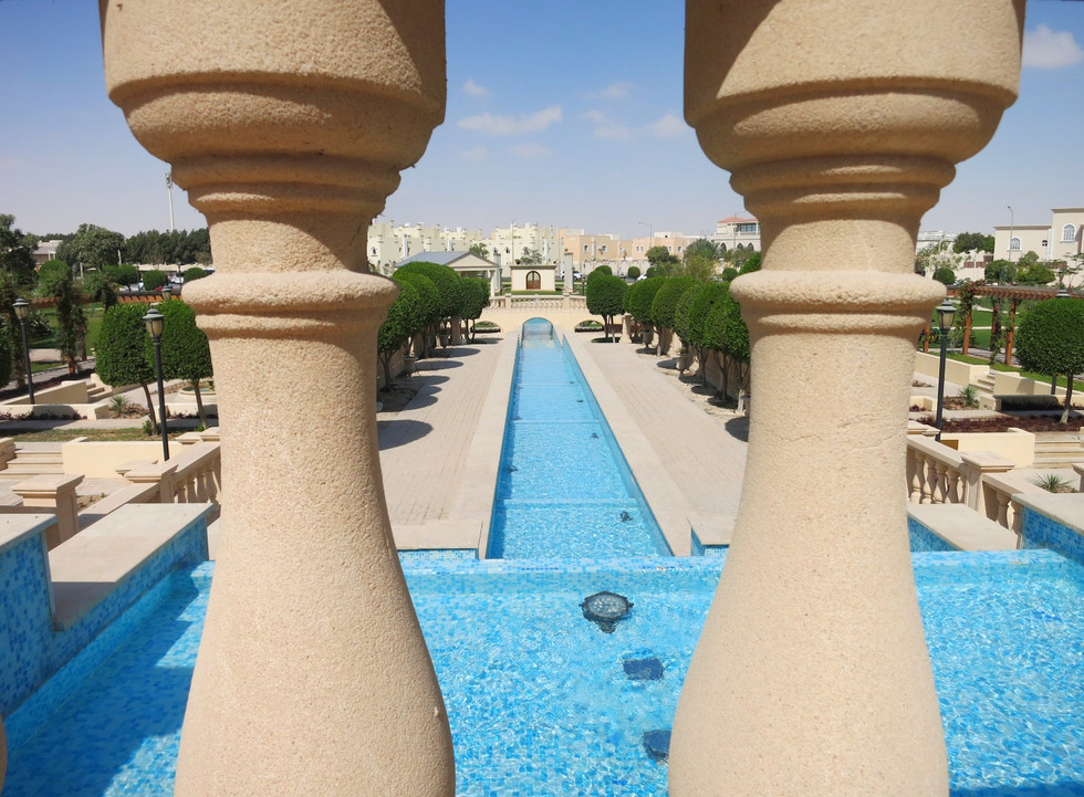 Ballustrade design and water feature in grand heritage hotel landscape