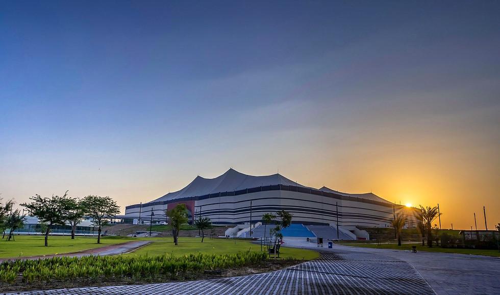 Al Bayt Stadium sunset over landscape design