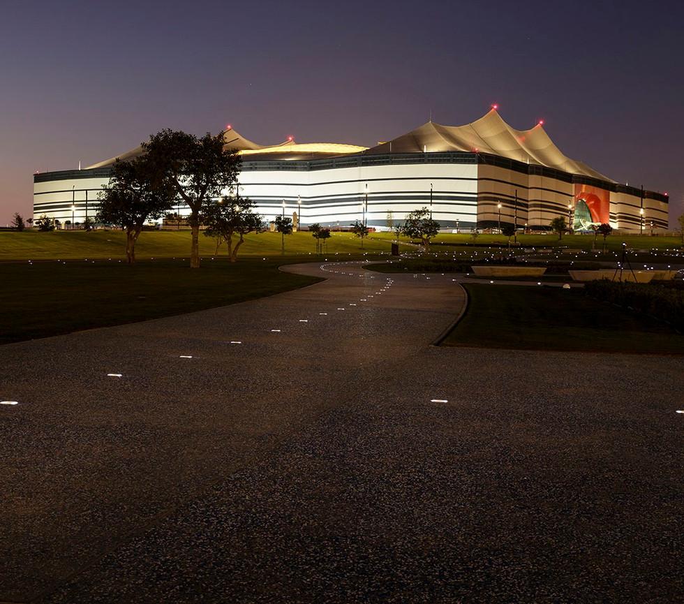 Al Bayt Stadium landscape design at night with lighting