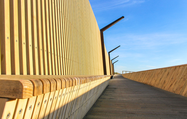 Timber boardwalk and bench landscape design at New Brighton Seafront