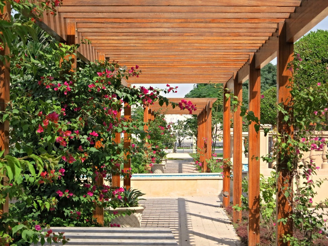 pergola and landscape planting at grand heritage hotel