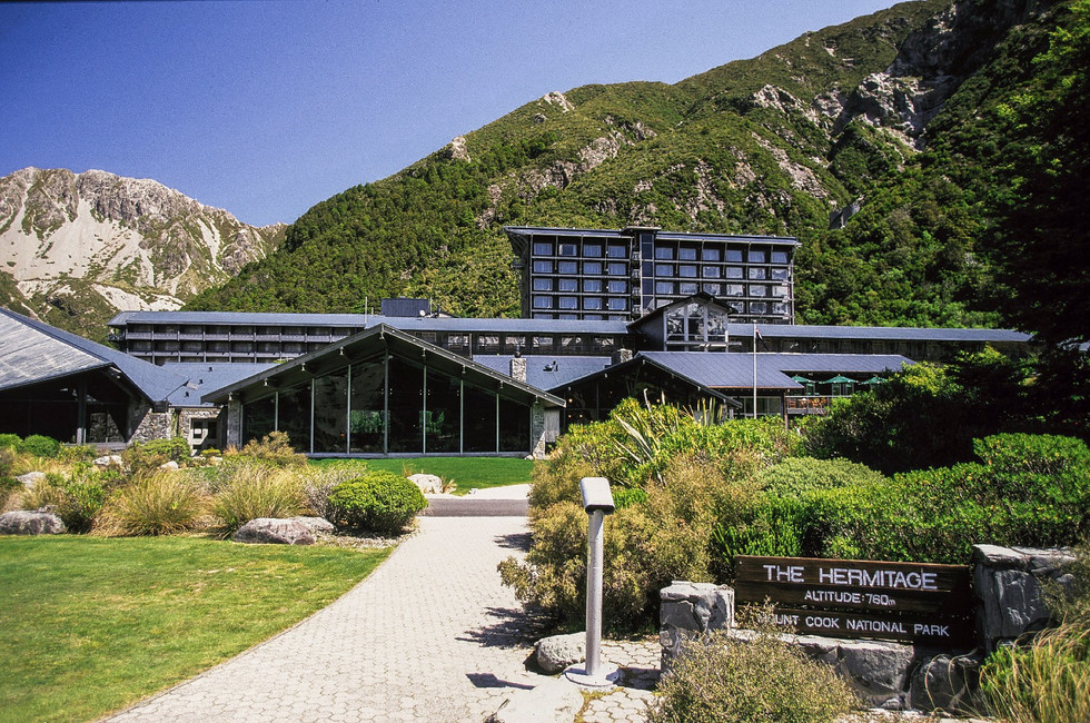 entrance landscape design at mt cook hermitage