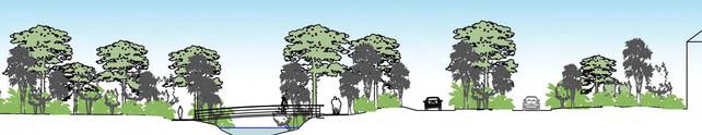 Landscape architectural elevation for access for Franz Joseph alpine resort