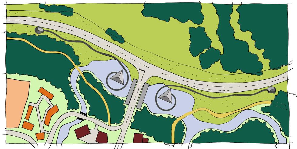 Entrance plan and landscape design for Franz Joseph alpine resort