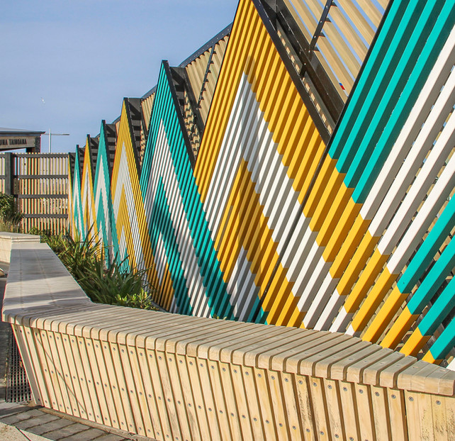 Maori cultural landscape architectural fence design at Hot Pools, Christchurch