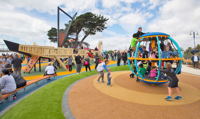 View looking south to the landscape architecturally designed Playground at New Brighton