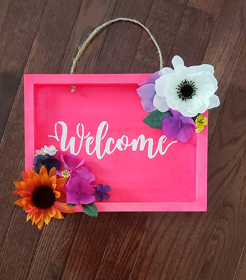 Welcome Bright Floral Wood Sign