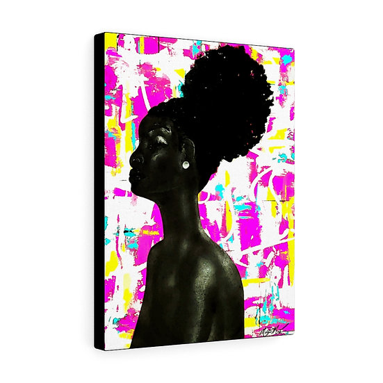 Black: Girl With a Pearl Earring Canvas Print
