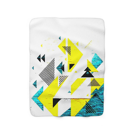 Yellow and Blue Angled Fleece Blanket