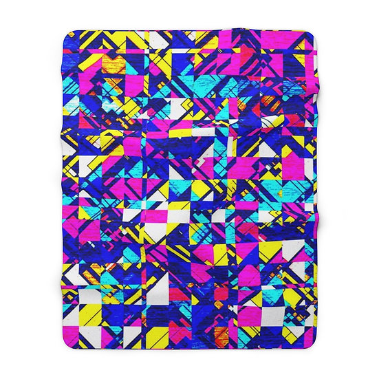Brightly Abstracted Sherpa Fleece Blanket