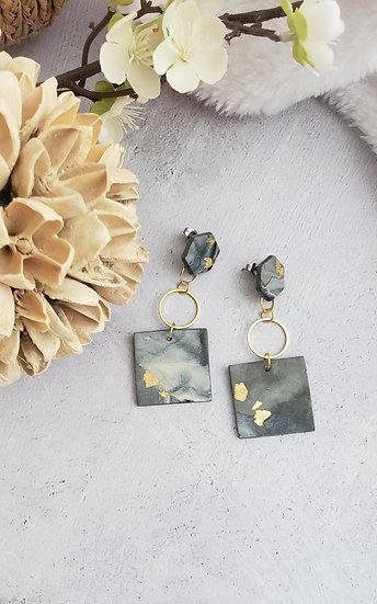 Geometric Marbled Clay Earrings