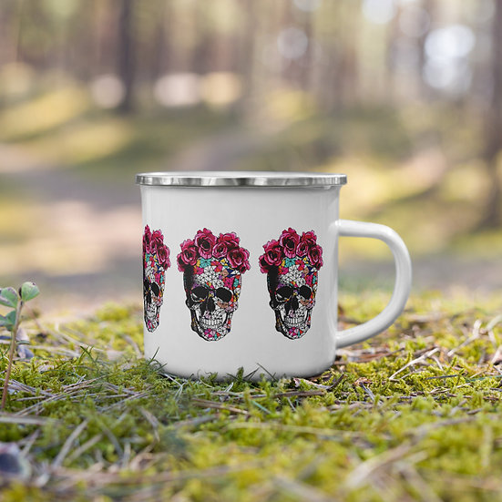 Flowers and Skulls Enamel Mug
