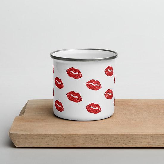 Polka Dot Kisses Enamel Mug
