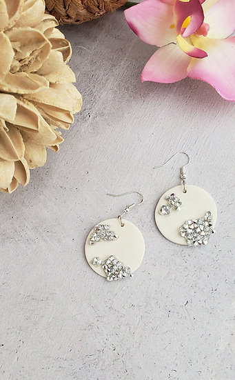 Crystal Accent White Circle Earrings