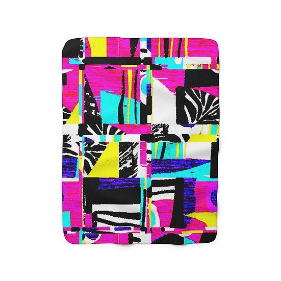 Neon Zebra Print Sherpa Fleece Blanket