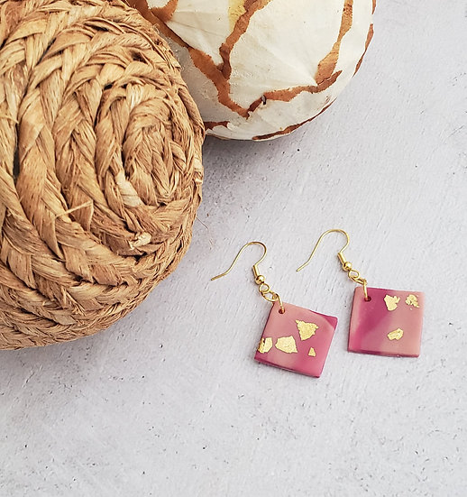 Pink Square Clay Dangle Earrings