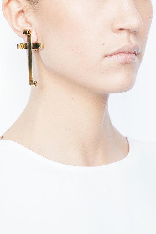 Boucles d'oreilles Croix vermeil