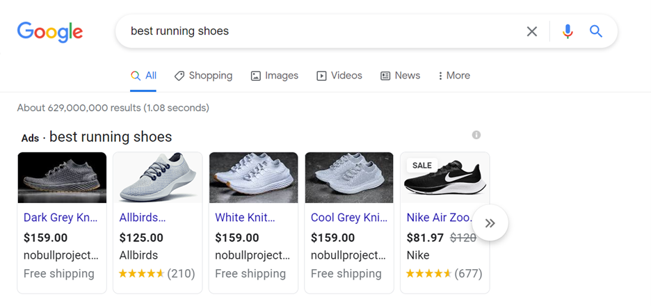 Google shopping ads for athletic shoes and sneakers
