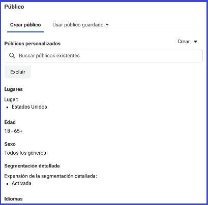 Facebook Business Manager - Crear publico, usar publico guardado