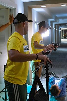 Preparig the production. Adjusting camera and lighting.