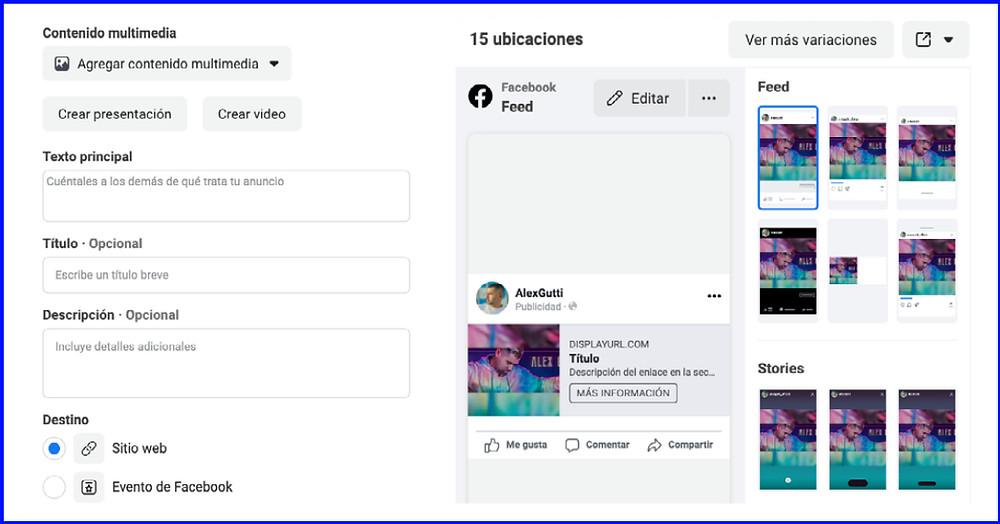 Facebook Business Manager - Contenido multimedia y ubicaciones