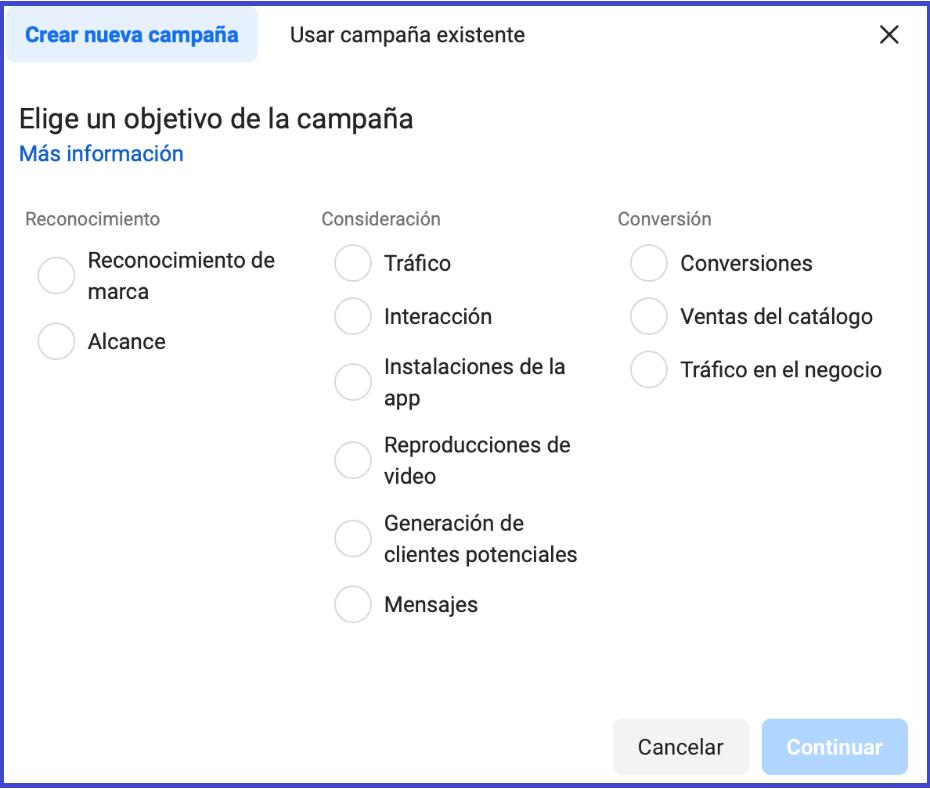 Facebook business manager - Crear nueva campaña, usar campana existente