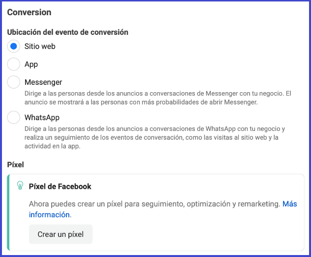 Facebook Business Manager - ubicacion del evento de conversion