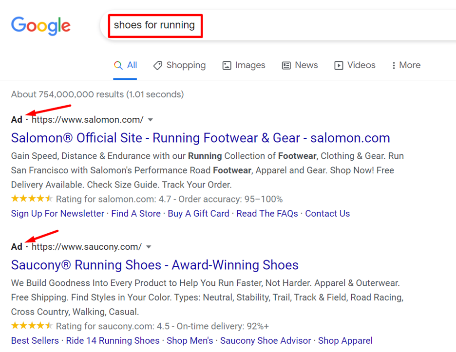 Google search: shoes for running