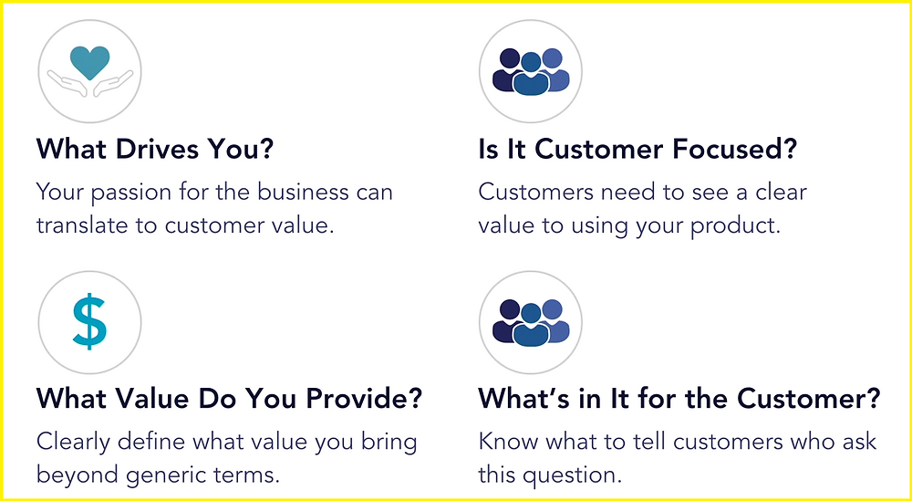What drives your company, is it customer focused, What value do you provide? Whats in it for the customer?