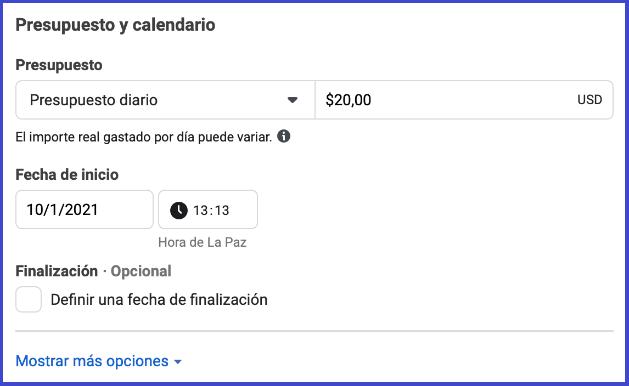 Facebook Business Manager - presupuesto y calendario