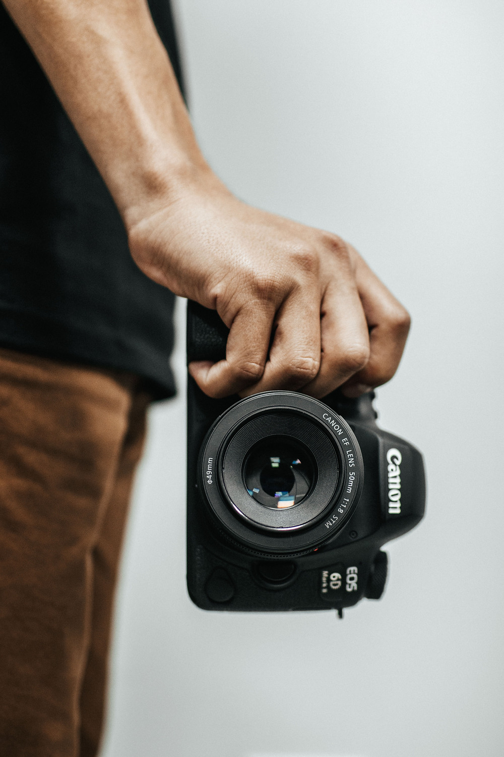 Close-up of hand holding a canon camera. E-commerce depends on quality photos to improve sales.